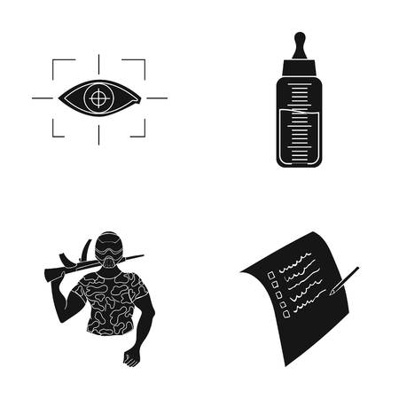 A test, sport, medicine and other web icon in black style. pencil, record, document icons in set collection. Illustration