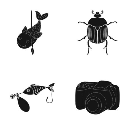 A photography, video, ecology and other web icon in black style.tackle, accessories, camera icons in set collection.