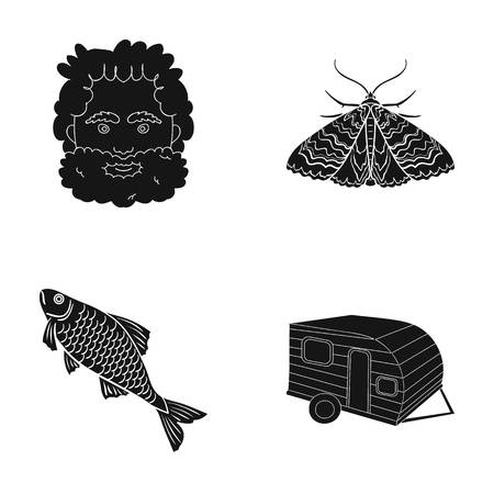 A picnic, rest, tourism and other web icon in black style.fishing, trailer, trip, icons in set collection.