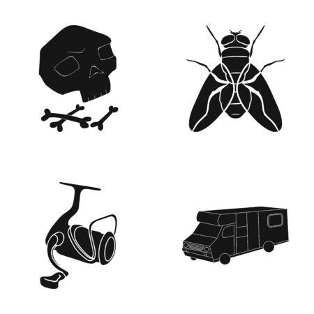 Une icône de voyage, histoire, tourisme et autre web en noir style.car, remorque, icônes dans la collection de jeu. Vecteurs
