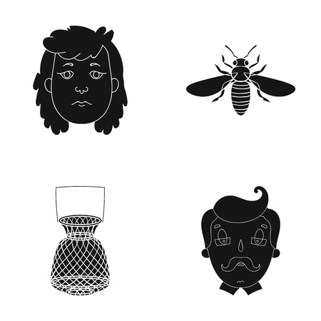 A teacher, nature, history and other web icon in black style.glasses, mustache, grandfather, icons in set collection.