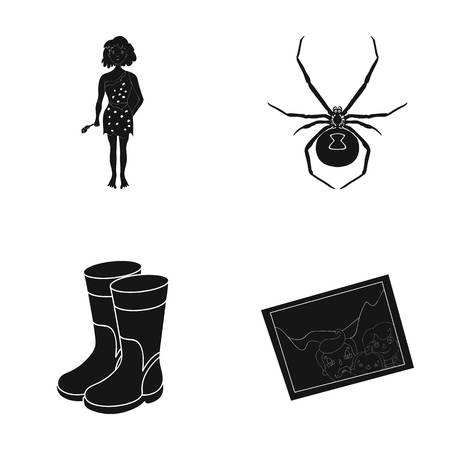 history, nature, art and other  icon in black style.rubber, workers, picture icons in set collection.