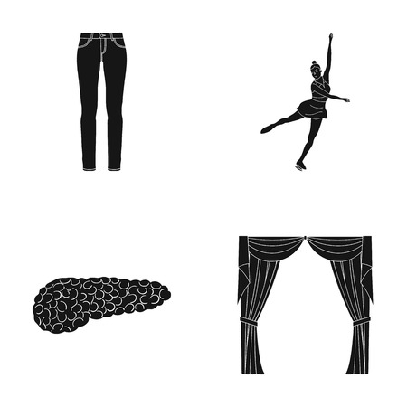 medicine, sports, textiles and other  icon in black style.treatment, curtains, drapes, icons in set collection Illustration