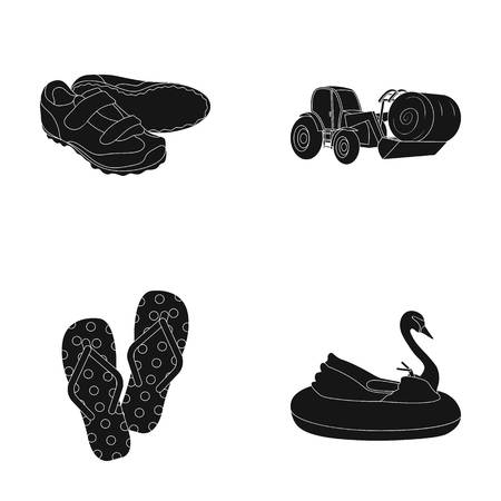 vervoer, recreatie, sport en andere pictogram in zwarte stijl. boot, attractie, entertainment, pictogrammen in set collectie