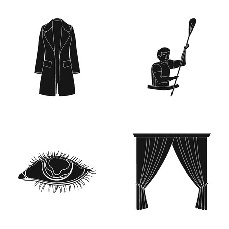 circle, booth, textiles and other  icon in black style.carousel, attraction, entertainment, icons in set collection Illustration