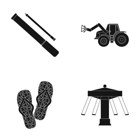 carousel, entertainment, leisure and other  icon in black style.drawing, rubber, attraction, icons in set collection
