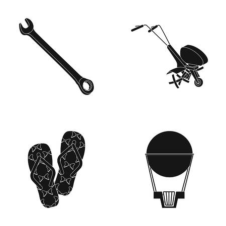 air, flight, entertainment and other  icon in black style.rubber, design, ball, icons in set collection Illustration