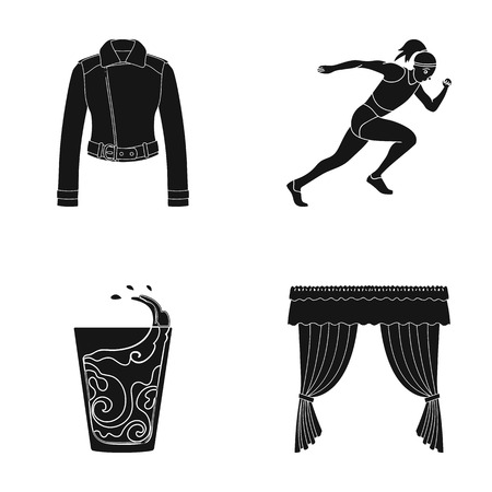 fabric, sports, textilesand other  icon in black style.coffee, curtains, cornices, icons in set collection Illustration