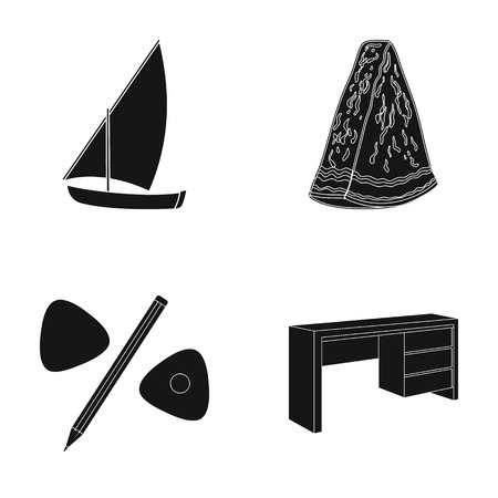 watermelon boat: decoration, sport, nature and other  icon in black style.table, tree, design, icons in set collection Illustration