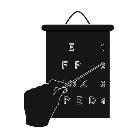 table sizes: Gesture, manipulation of the hand with a pointer when checking the vision according to the table. Medicine single icon in black style vector symbol stock illustration web. Illustration