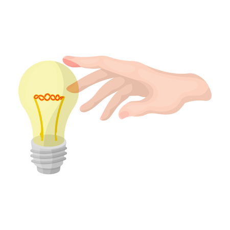 Replacement of an electric bulb. Incandescent lamp single icon in cartoon style vector symbol stock illustration web.