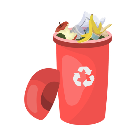 Een volledige vuilnisbak met afval. Vuilnis en ecologie enig pictogram in Web van de de voorraadillustratie van de beeldverhaalstijl vector.