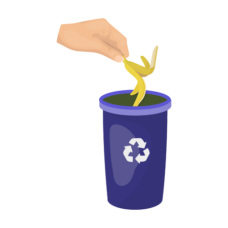 Emission of banana peel into the garbage can for waste. Rubbish and Ecology single icon in cartoon style vector symbol stock illustration web.