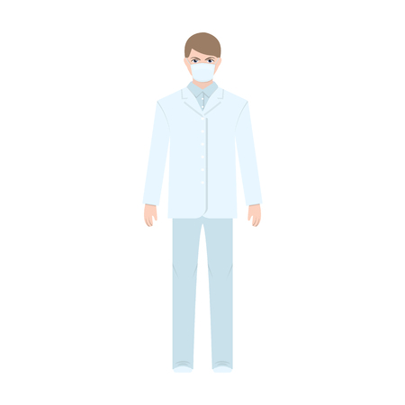 quarantine: The man is a doctor in uniform and a protective mask. The medicine single icon in cartoon style vector symbol stock illustration web.