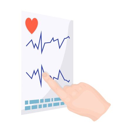 Studying the cardiogram of the heart. Medicine single icon in cartoon style vector symbol stock illustration web. Çizim