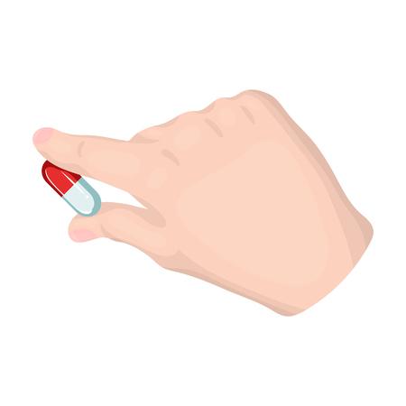 Medicine, a pill in the doctors hand. The medicine,Medicine single icon in cartoon style vector symbol stock illustration web.