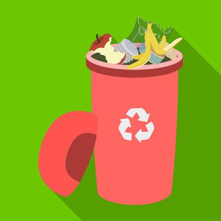 Un cubo de basura lleno con desperdicio. Icono único de los desperdicios y de la ecología en web plana del ejemplo de la acción del símbolo del vector del estilo.