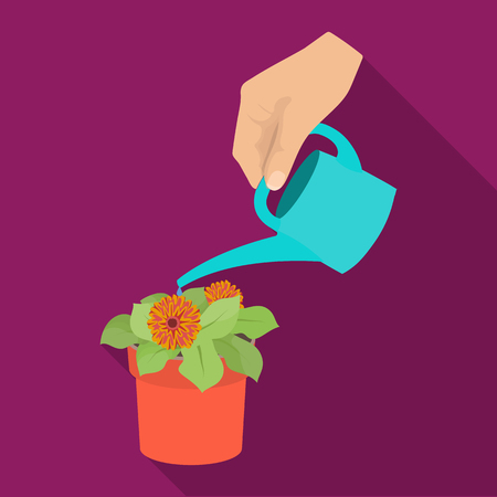 Watering the houseplant in a pot. Home Flower single icon in flat style vector symbol stock illustration web. Illustration