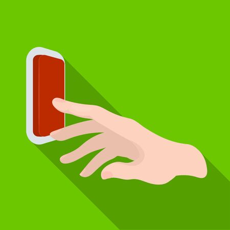 A hand that includes an electric switch. Push Button Switch single icon in flat style vector symbol stock illustration web. Illustration