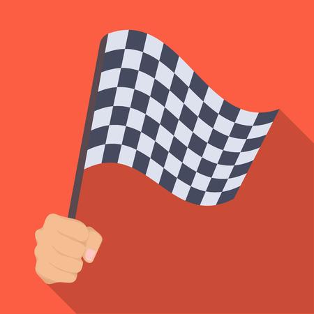 レーシング、開始と終了フラグを手に舞います。チェッカーフラッグはシングル フラット スタイル ベクトル シンボル ストック イラスト web のアイ
