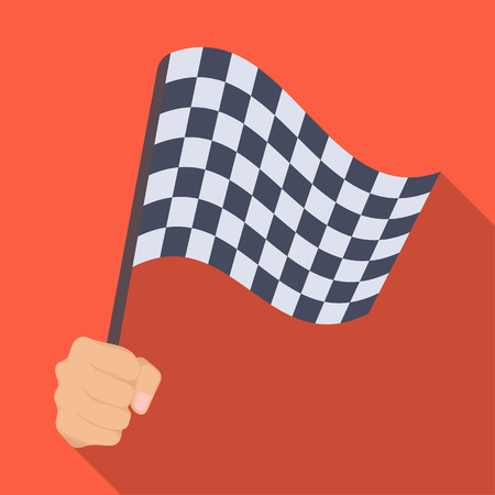A racing, starting and finishing fluttering flag in his hand. Checkered flag single icon in flat style vector symbol stock illustration web.