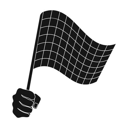 レーシング、開始と終了フラグを手に舞います。チェッカーフラッグはシングル ブラック スタイル ベクトル シンボル ストック イラスト web のアイ