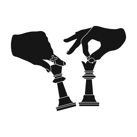 Hände halten Schachfiguren . Einzelne Ikone der Karikatur in der schwarzen Artvektorsymbol-Vorratillustration