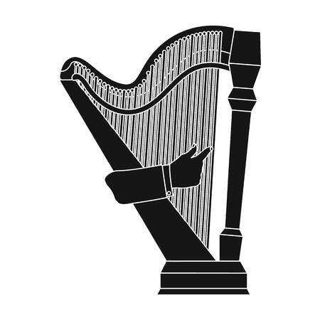 arpa: Tocando el instrumento musical de cuerda de arpa. Solo icono de arpa orquestal en web de estilo negro stock vector símbolo stock.