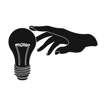 Replacement of an electric bulb. Incandescent lamp single icon in black style vector symbol stock illustration web.