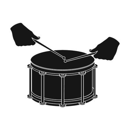 drumming: Drum, percussion musical instrument. Drum shot single icon in black style vector symbol stock illustration web. Illustration
