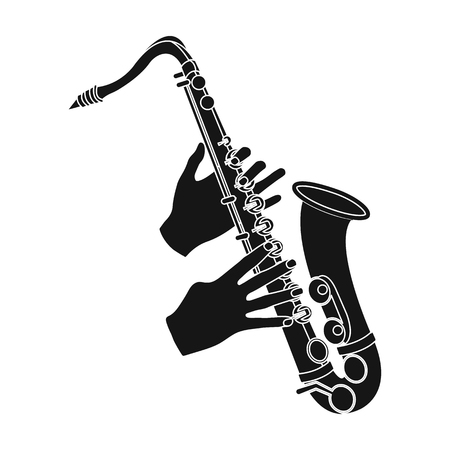 overtone: The saxophonist plays the saxophone. Golden saxophone single icon in black style vector symbol stock illustration web.