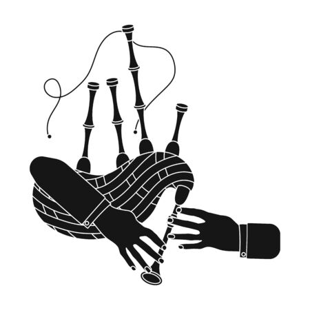 Playing the Scottish national bagpipe instrument. Bagpipe Wind Instruments single icon in black style vector symbol stock illustration web.