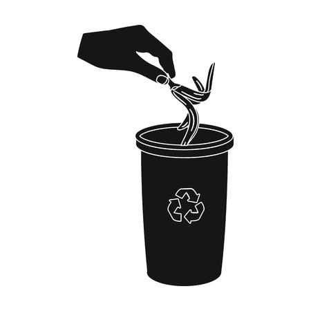 Emission of banana peel into the garbage can for waste. Rubbish and Ecology single icon in black style vector symbol stock illustration web.