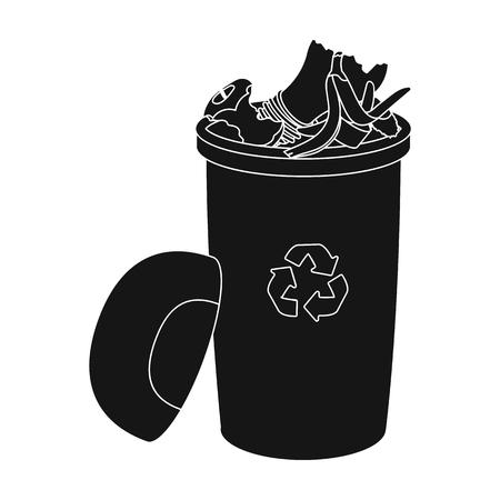 Un cubo de basura lleno con desperdicio. Solo icono de los desperdicios y de la ecología en web negra del ejemplo del vector del símbolo del estilo.