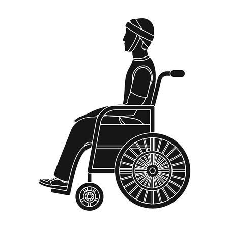 A man with a trauma in a wheelchair. Medicine single icon in black style vector symbol stock illustration web.