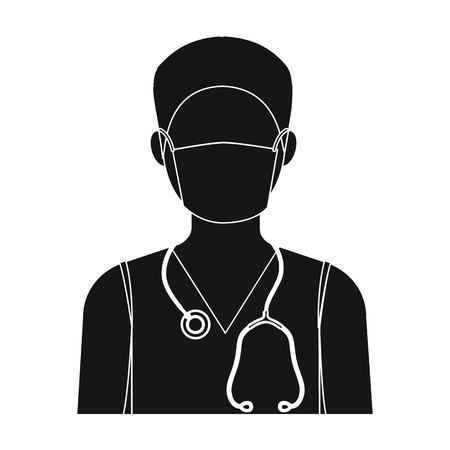 quarantine: The doctor is wearing a face mask with a phonendoscope. Medicine single icon in black style vector symbol stock illustration web.