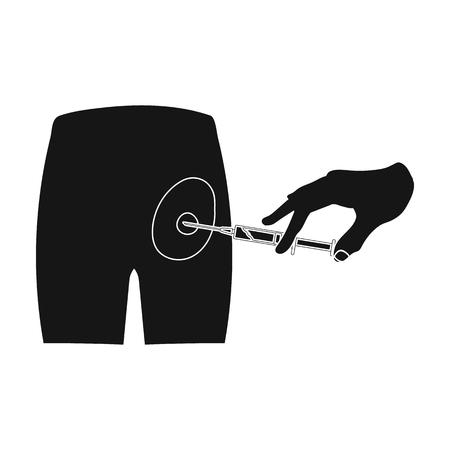 Intramusculaire injectie in de bil met een spuit. Geneeskunde enig pictogram in het zwarte Web van de de voorraadillustratie van het stijl vectorsymbool.