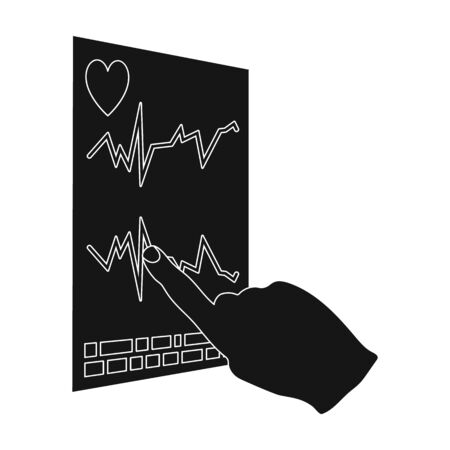 Studying the cardiogram of the heart. Medicine single icon in black style vector symbol stock illustration web.