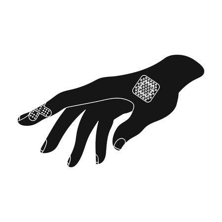 bactericidal: Bactericidal plaster on the arm. Medicine single icon in black style vector symbol stock illustration web.