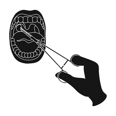 Treatment of the tonsils In the oral cavity. Medicine single icon in black style vector symbol stock illustration web.