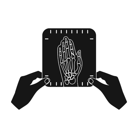 phalanx: X-ray picture of the hand of a person in the hands of a radiologist. Medicine single icon in black style vector symbol stock illustration web.