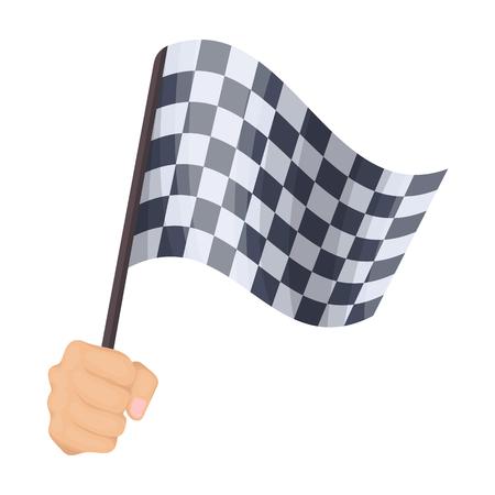 レーシング、開始と終了フラグを手に舞います。チェッカーフラッグは単一漫画スタイルのベクトル シンボル ストック イラスト web のアイコンです