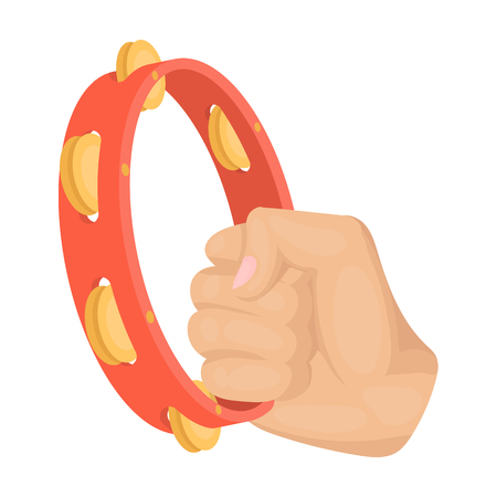melodic: A tambourine that produces a melodic sound. Tambourine in his hand single icon in cartoon style vector symbol stock illustration web. Illustration