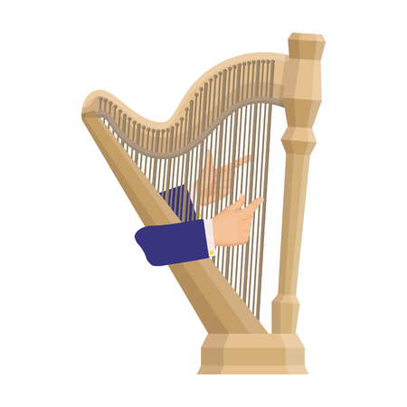 Playing the harp stringed musical instrument. Orchestral harp single icon in cartoon style vector symbol stock illustration web. Illustration