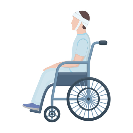 A man with a trauma in a wheelchair. Medicine single icon in cartoon style vector symbol stock illustration web.
