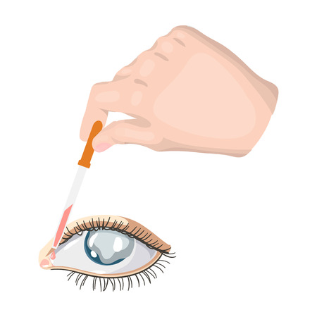 Hand wrapping the medicine in the damaged eye. Medicine single icon in cartoon style vector symbol stock illustration web.