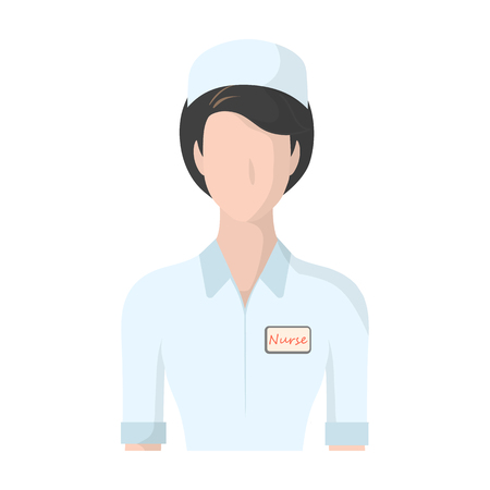 nurse hat: Medical staff in the hospital. Medicine single icon in cartoon style vector symbol stock illustration web.