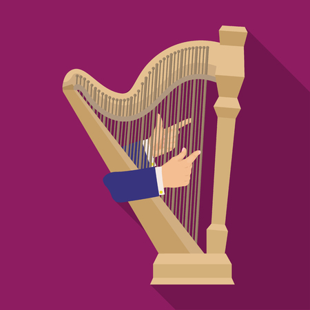 Playing the harp stringed musical instrument. Orchestral harp single icon in flat style vector symbol stock illustration web. Illustration
