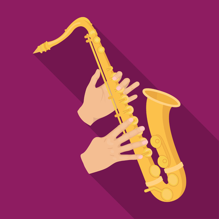 overtone: The saxophonist plays the saxophone. Golden saxophone single icon in flat style vector symbol stock illustration web.