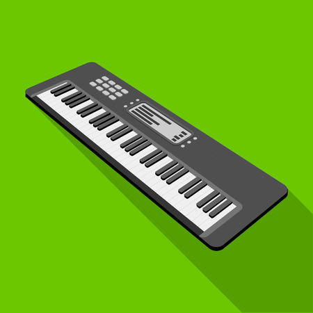 Keyboard electronic musical instrument. Synthesizer of melody single icon in flat style vector symbol stock illustration web.